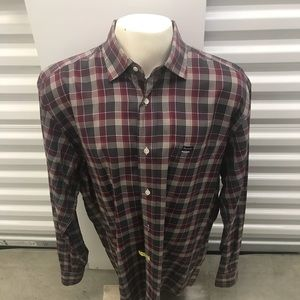 Facconable Mens Checkered Dress Shirt Large